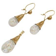 Edwardian Floating Opal Pendant and Earrings Set 14k Yellow Gold