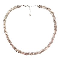 Triple Strand Twisted Necklace Sterling Silver Diamond Cut Bead