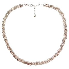 """17"""" - 19"""" Diamond Cut Bead Triple Strand Twisted Necklace Sterling Silver"""