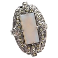 Art Deco Sterling Silver Chalcedony and Marcasite Ring