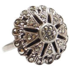 Domed Marcasite Ring Sterling Silver
