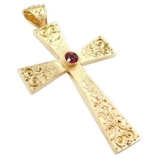 HUGE Victorian Handmade Ornate Cross Pendant with Garnet 14k Gold