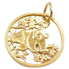 Pure Gold Carved Panda Coin Charm / Pendant