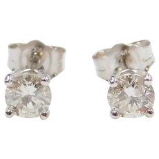 .68 ctw Diamond Stud Earrings 14k White Gold