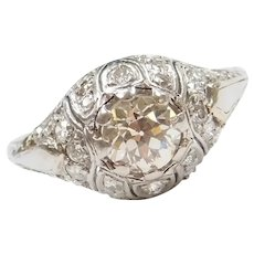 1.39 ctw Champagne Diamond Art Deco Domed Platinum Ring