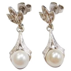 14k White Gold Cultured Pearl and Diamond Dangle Earrings
