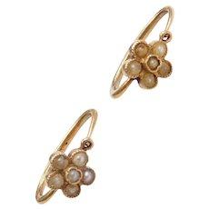 Edwardian Seed Pearl Flower Earrings 14k Gold