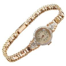 1930-40's 18k Gold Zalgur 17 Jewels Swiss Diamond Watch Two-Tone