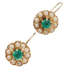 Edwardian 14k Gold Faux Emerald and Seed Pearl Flower Drop Earrings