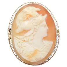 Edwardian 14k White Gold Carved Shell Cameo Pendant / Pin Roman Soldier