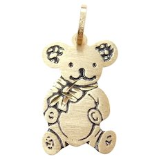 14k Gold Flat Teddy Bear Charm