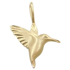 Vintage 14k Gold Hummingbird Charm