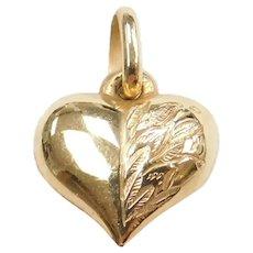 14k Gold Puff Heart Charm