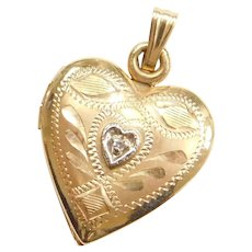 14k Gold Diamond Etched Heart Locket Pendant
