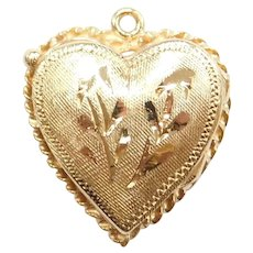 14k Gold Etched Heart Locket Charm