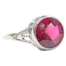 Art Deco 4.50 Carat Created Ruby Ring 14k White Gold