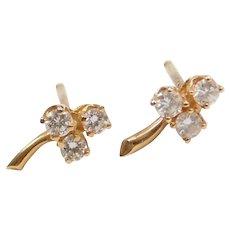 """Three """"Leaf"""" Diamond Clover Stud Earrings 14k Gold"""