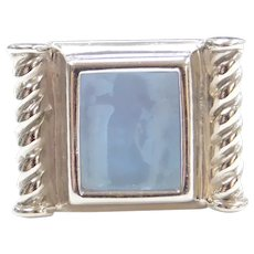 Blue Glass Carved Intaglio Ring 14k White Gold