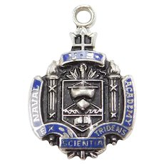 Sterling Silver Naval Academy Charm with Blue Enamel