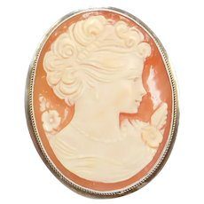 Sterling Silver Carved Shell Cameo Pendant / Pin