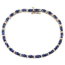 "7 1/8"" 14k Gold 8.25 ctw Natural Sapphire and Diamond Bracelet"