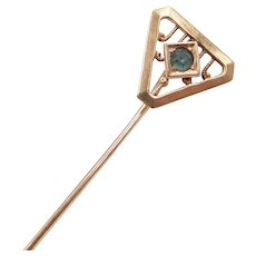 Edwardian Blue Glass Stick Pin 10k Gold