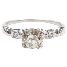 Art Deco .99 ctw Diamond Engagement Ring 14k White Gold