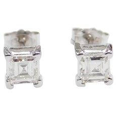 .57 ctw Diamond Stud Earrings 14k White Gold