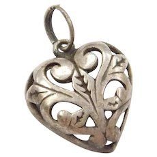 Sterling Silver Ornate Heart Charm