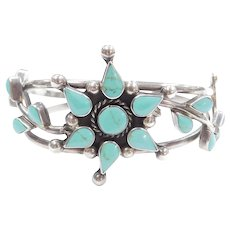 Mexico Turquoise Flower Cuff Bracelet Sterling Silver