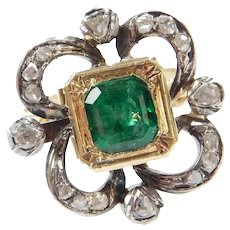Georgian 1.76 ctw Natural Emerald and Diamond Ring 14k Gold and Silver