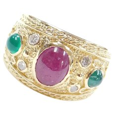 18k Gold 3.12 ctw Ruby, Emerald and Diamond Ornate Ring