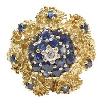 1.64 ctw Sapphire and Diamond 14k Gold Flower Ring