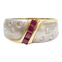 14k Gold Two-Tone .57 ctw Ruby and Diamond Ring