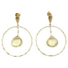14k Gold Lemon Quartz Circle Dangle Earrings