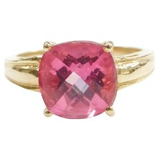 6.13 Carat Pink Sapphire Solitaire Ring 14k Gold