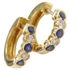 18k Gold .46 ctw Sapphire and Diamond Huggie Hoop Earrings