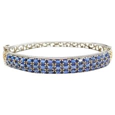 5.97 ctw Natural Sapphire Bangle Bracelet Sterling Silver and Gold Plated