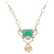 "17 1/4"" 14k Gold Art Nouveau Chrysoprase Koi Fish Freshwater Pearl Necklace"
