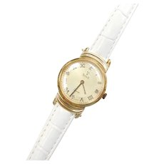 14k Gold VicencE Watch on White Leather Strap