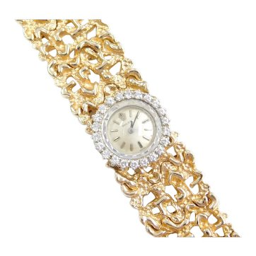 1960's Rolex Watch .55 ctw Diamonds 14k Gold Nugget Bracelet 6 1/2""