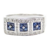 .63 ctw Sapphire and Diamond Ring 18k White Gold