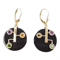 """""""Oliver"""" Onyx and Gemstone Colorful Dangle Earrings with Lever Backs 14k Gold"""
