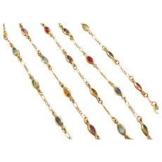 "20"" 14k Gold Colorful Glass Station Necklace"