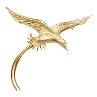 Large 18k Gold Bird Pendant / Pin with Diamond Eye