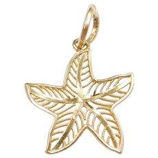 14k Gold Starfish Charm / Pendant
