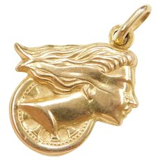 14k Gold Puff Lady Justice Charm ~ Reversible