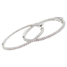 1.75 ctw Diamond Inside and Out Large Oval Hoop Earrings 14k White Gold