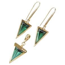Modernist Statement Green Spinel & Diamond Set Earrings & Pendant