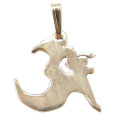 14k Gold Om Yoga Pendant / Charm